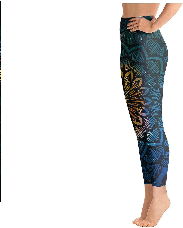 medssii Lady Yoga Pants Star Field and Colorful Light Long Yoga Pants Yoga Leggings with Pockets