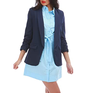 815d8318878e La Modeuse - Blazer Long à Manches 3 4  Amazon.fr  Vêtements et accessoires