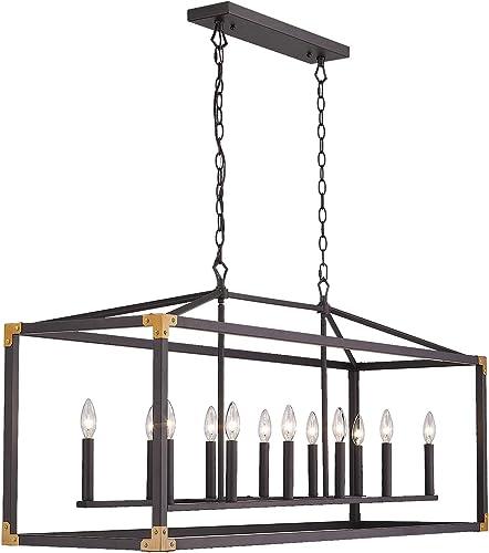 Zeyu 12-Light Linear Island Lighting, 51 inch Extra Large Dining Room Pendant Light, Oil Rubbed Bronze Finish, 012-12 ORB