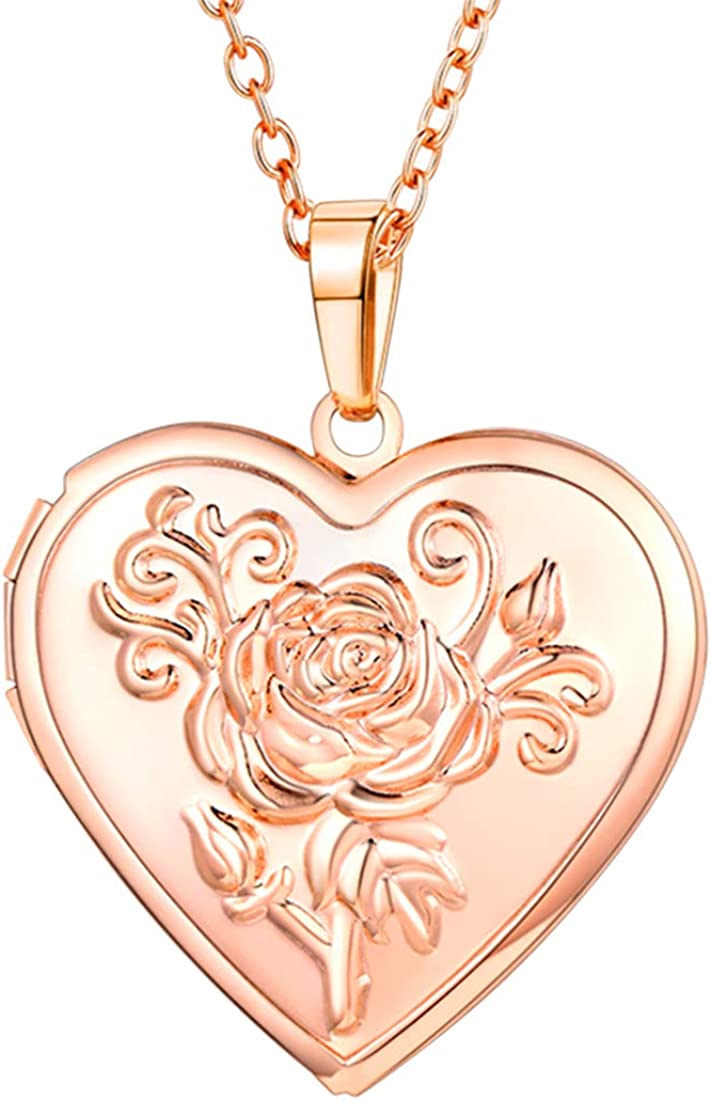 U7 Women Girls Photo Locket Pendant Heart/Round Shaped Fashion Jewelry 18K Gold Plated Necklace, with Custom Image or Text Engrave Service