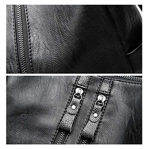 Multifonctions Black Pour Cuir Dos Sac De Capacité Grande Décontracté En Souple Femme À nH7qxwq0