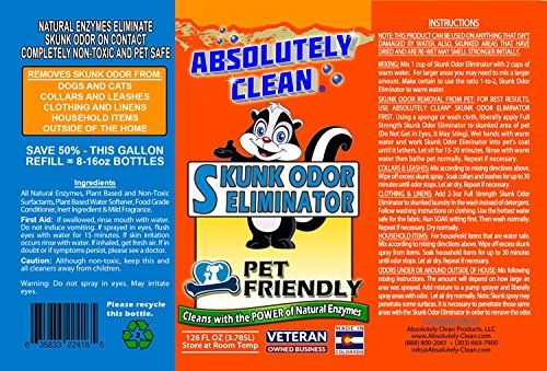 Absolutely Clean Skunk Odor Eliminator - Often Works in One Wash - Powerful Natural Enzymes Eliminate Odor on Contact - Made in Colorado - Veteran Owned Company