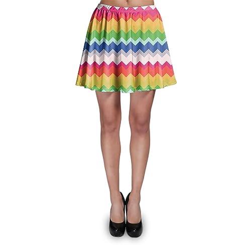 Multicolor Chevron Rainbow Skater Falda XS-3X L Elástico acampanado falda corta