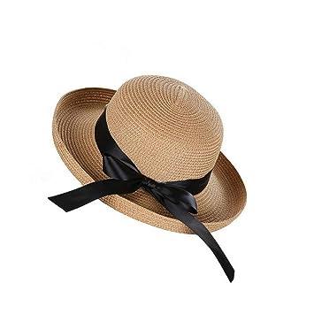 Estilo británico Moda para Mujer Tejido Sombrero de Paja Moderno Playa  Plana Sombrero Sombrero clásico para Mujer Sombrero de Paja Sombreros de  Verano para ... b86bbc97257