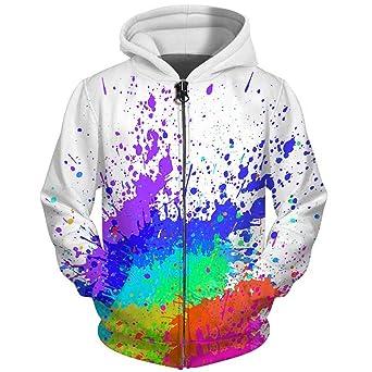 Amazon.com: UkEdNs 3D Men Hoodies Zip Up Splatter Color Paint Stains 3D Print Streetwear Casual Jacket Men Women Outwear: Clothing