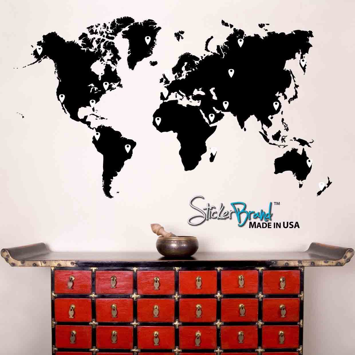 Amazoncom Stickerbrand Vinyl Wall Art World Map Of Earth With - Find us on google maps stickers
