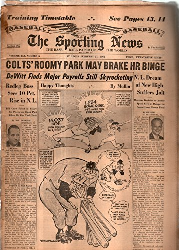 The Sporting News Newspaper Feb 21, 1962 Colts' Roomy Park May Brake HR Binge GOOD
