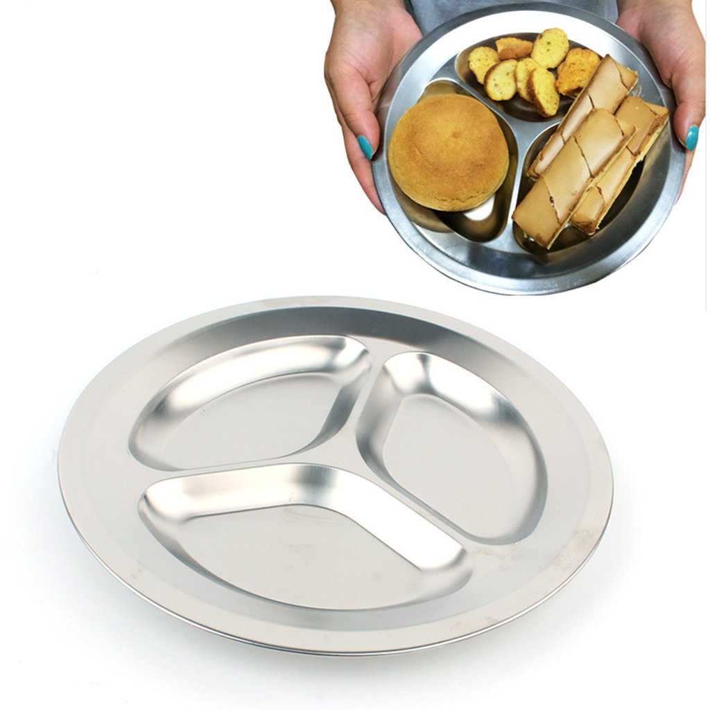 MagiDeal Set of 3 Compartments + 4 Compartments Round Stainless Steel Dinner Dish for Kids Use or Camping Hiking Travel BBQ Picnic by MagiDeal (Image #4)