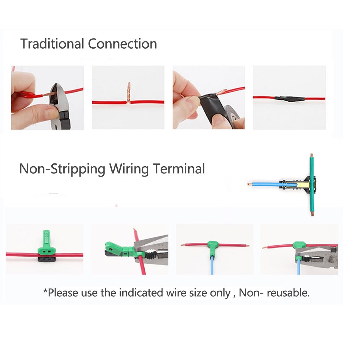 Electrical Wire Connectors T Tap Quick Splice 16 Awg With No And Basic Wiring Home Stripping Of Wires Pack 10 Ac Jwt Tools Improvement