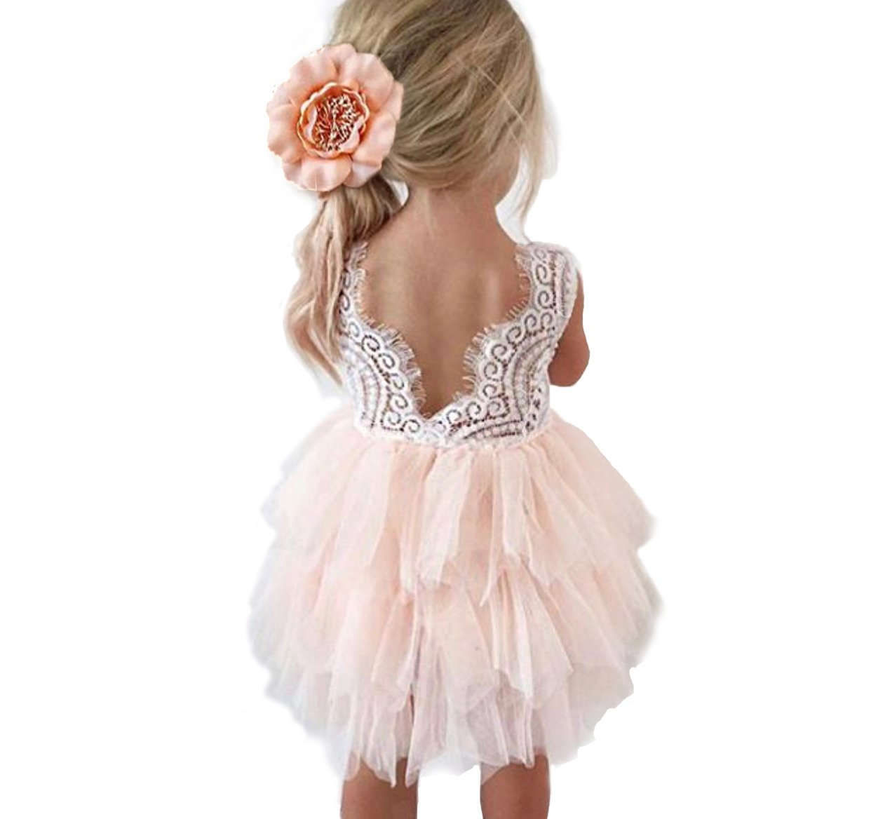 Backless A-line Lace Back Flower Girl Dress (5Y, Pink)