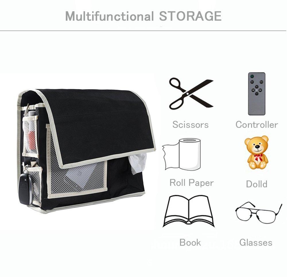 VOIMAKAS Bedside Hanging Storage Bag, 6 Pockets Oxford Cloth Organizer Bag for Book Magazine Phone Tissue TV Remote Accessory - Black by VOIMAKAS (Image #4)