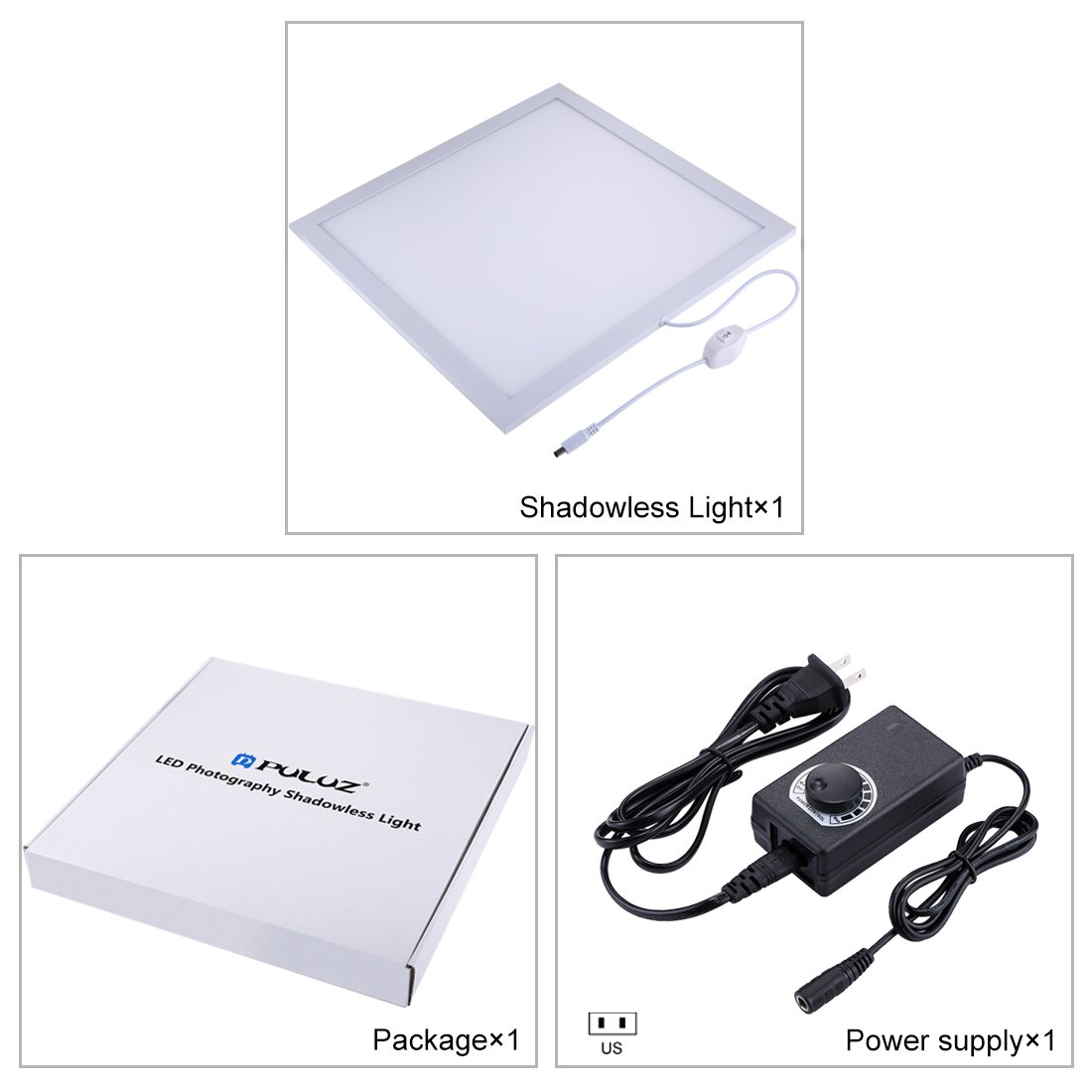 PULUZ Photo Studio Fill Light LED Shadowless Light Panel 15in X 15in / 38 x 38 cm Dimmable Photography Softbox Bottom Light for Food Jewelry Cosmetic Crafts US Plug by PULUZ (Image #6)