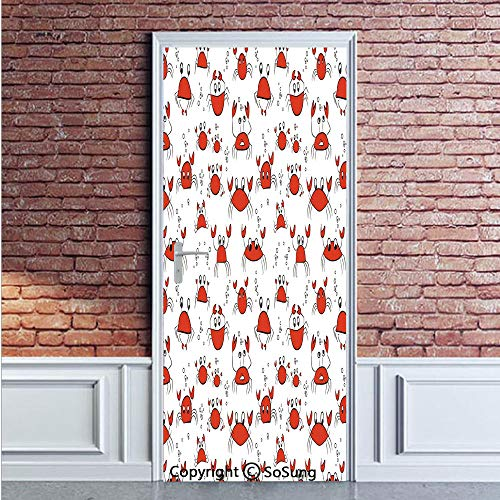 Nursery Door Wall Mural Wallpaper Stickers,Funny Cartoon Crabs in Simplistic Drawing Style Animal Caricatures Happy Cute Design,Vinyl Removable 3D Decals 35.4x78.7/2 Pieces set,for Home Decor Red Blac