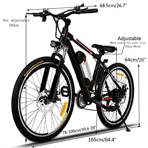 Kemanner 26 inch Electric Mountain Bike 21 Speed 36V 8A Lithium Battery Electric Bicycle for Adult (Black/Red)