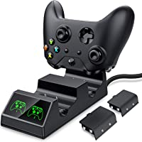 ESYWEN Xbox One Controller Charger Dual Charging Station for Xbox One/One S/One X/One Elite - 2 x 600mAh rechargeable Battery Packs Included