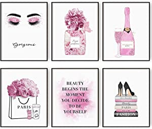 Pink Flower Perfume Glam Fashion Wall Art Prints Set of 6 Pink Bedroom Wall Decor for Women Canvas Art Teen Girls Room Decor (8x10in Unframed)