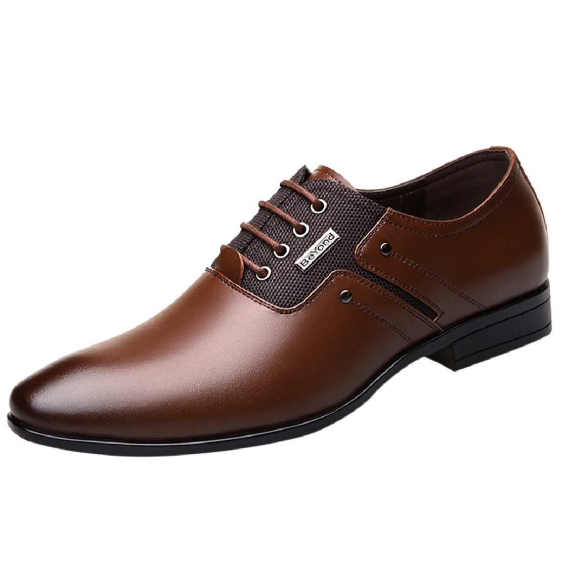 Men's Lace up Oxford Dress Shoes Pointed Toe Business Fashion Leather Comfortable Classic Shoes by Lowprofile Brown
