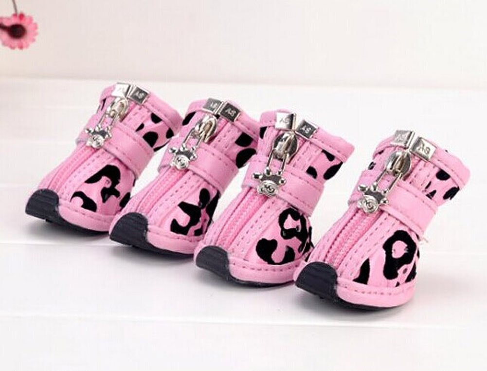 PU Non-slip Zipper Dog Boot Pet Casual Shoes, Pink Leopard Print by Panda Superstore (Image #1)