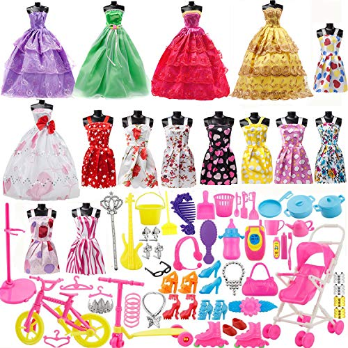Set for Barbie Dolls, 15 Pack Clothes Party Grown Outfits and 98pcs Different Doll Accessories Shoes Bags Necklace Tableware for Little Girl Birthday ()
