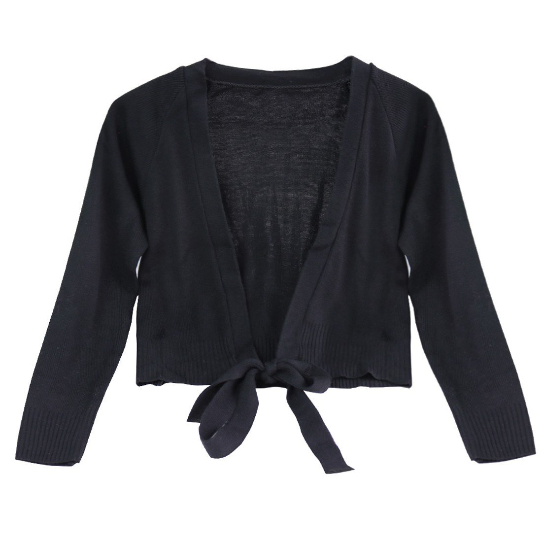 iEFiEL Kids Girls Long Sleeves Front Tie Knot Shrug Stretchy Cardigan Top Black 3-4