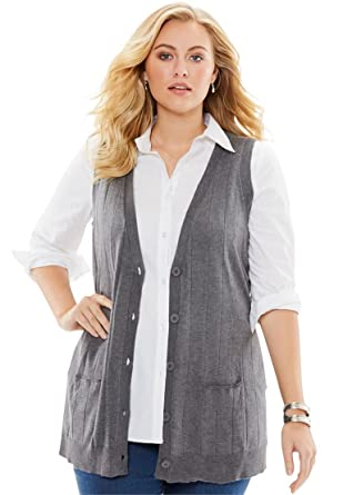 Roamans Women's Plus Size Fine Gauge Long Sweater Vest at Amazon ...