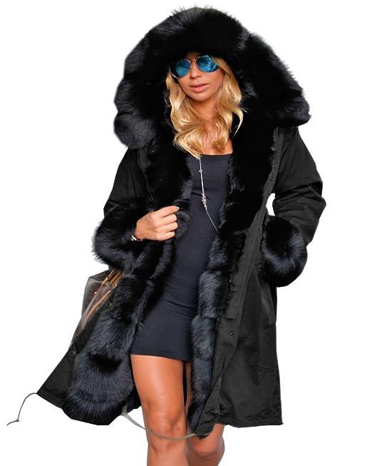 low priced 4a8db 56865 Roiii Women Winter Warm Thick Faux Fur Coat Hood Parka Long Jacket Size 8-18