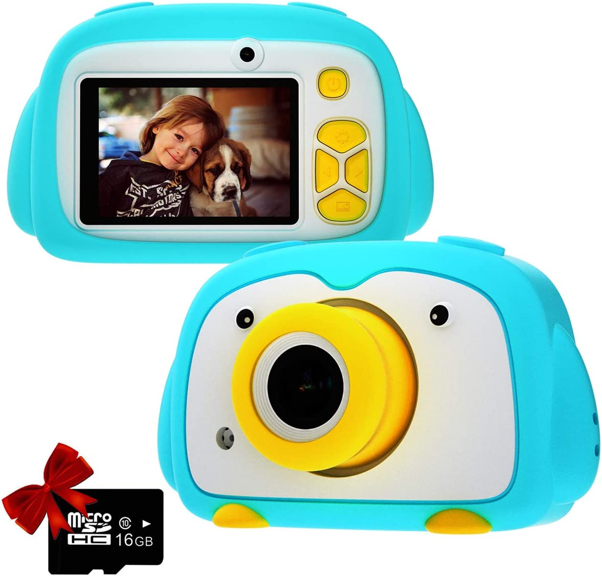 Kids Camera PANNOVO Digital Cam for Girls Rechargeable Video Recorder Cartoon Shockproof Silicone Case with 16GB SD Card 12MP HD 1080P 2 Inch Screen for 3-12 Year Old Boys Toddler - Blue