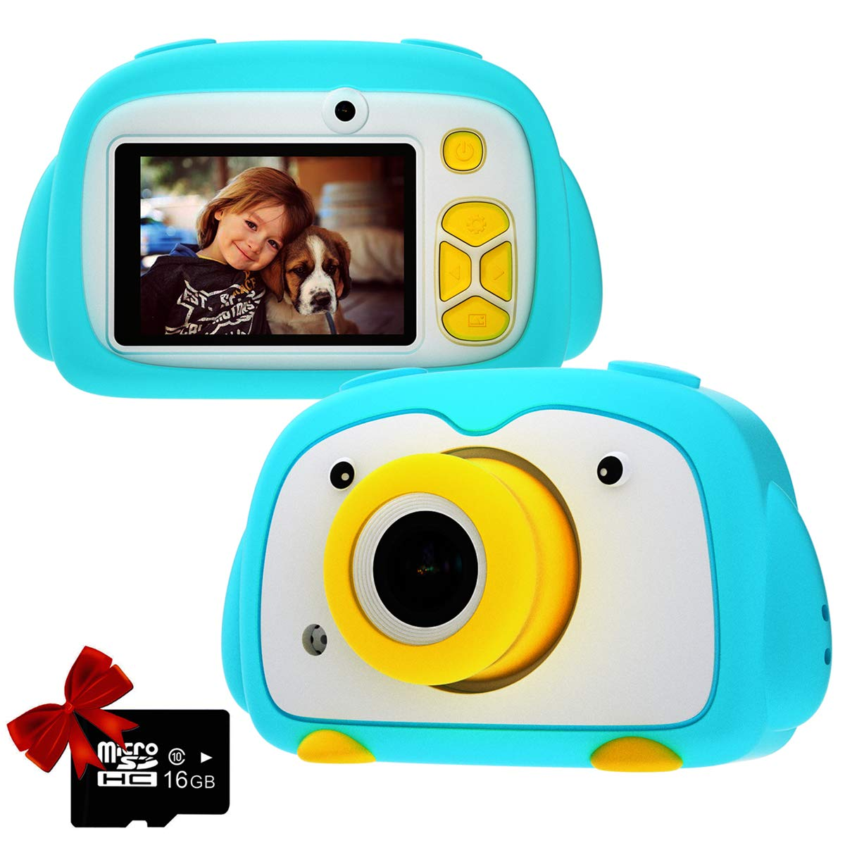 Kids Camera PANNOVO Digital Cam for Girls Rechargeable Video Recorder Cartoon Shockproof Silicone Case with 16GB SD Card 12MP HD 1080P 2 Inch Screen for 3-12 Year Old Boys Toddler (Blue) by PANNOVO