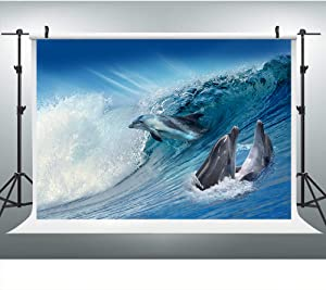 SDDSER Marine Animal Backdrops for Indoor Viewing Photography 7X5FT The Whale Jumped Out of The Water Banner Photo Backgrounds Wall Paper Photo Booth Props SDHX071