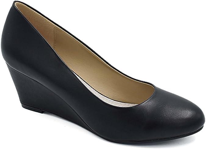 TALLA 39 EU. Greatonu Zapatos de Cuña Media Nuevos Clásicos sin Cordones y Hebillas para Mujer