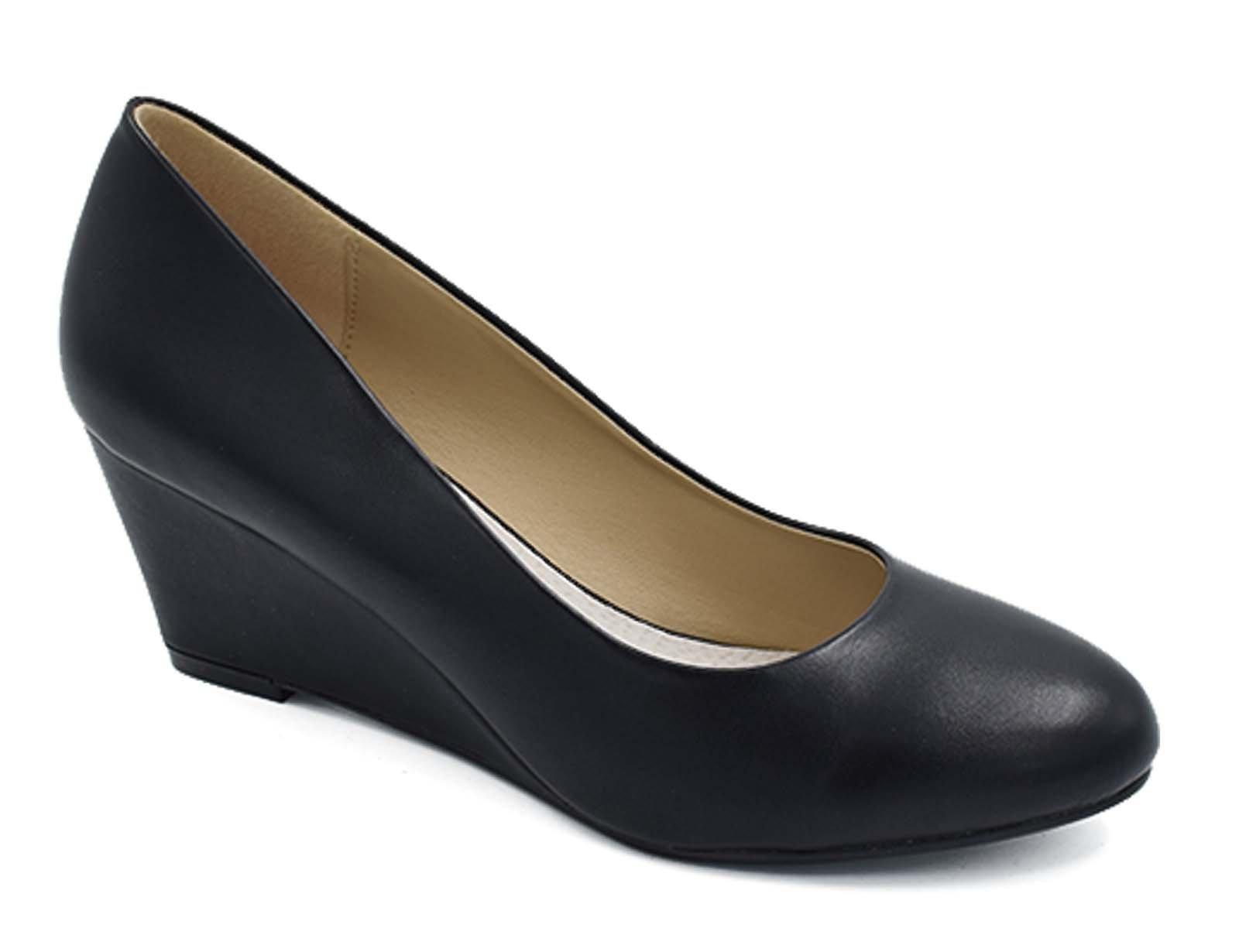 Greatonu Women's Black Patent Slip On Round Toe Mid Heel Wedge Pump Shoes Size 9