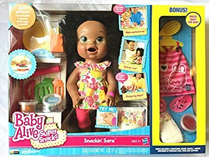 ac654c5ba Amazon.com  Baby Alive- Super Snacks- Snackin Sara with Bonus Pack ...