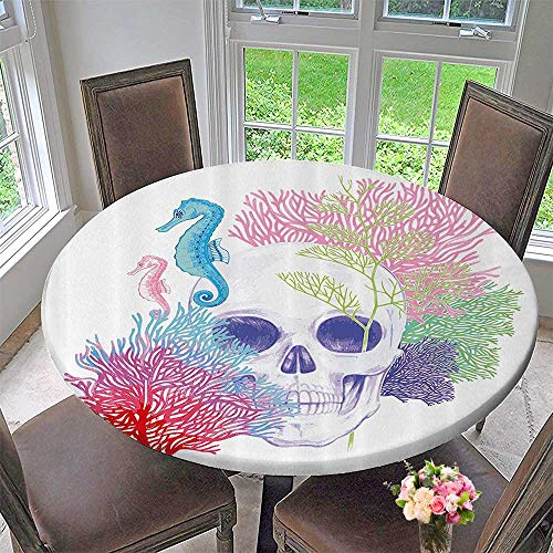 Mikihome Round Tablecloths Halloween Skull Skelet Head with Coral Reef Dead Aquarium Pirate Wildlife 43.5