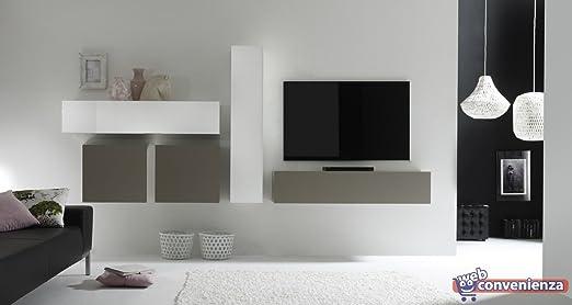 Parete Attrezzata Porta Tv Moderna.Web Convenienza Cube 16 A Bianco Lucido E Beige Opaco Parete