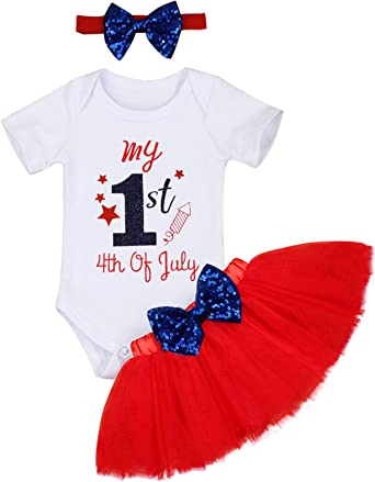 4th of July Newborn Infant Baby Girls Romper+Bow Dress+Headband Clothes Outfits