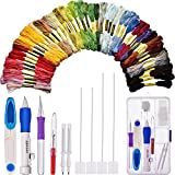 Bememo Embroidery Stitching Punch Needle Set with Storage Box and 50 Colored Cross Stitch Threads with Seam Ripper and Yarn Scissor