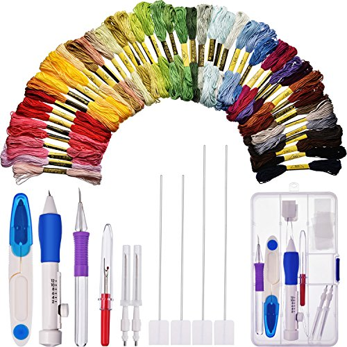 New Bememo Embroidery Stitching Punch Needle Set with Storage Box and 50 Colored Cross Stitch Thread...