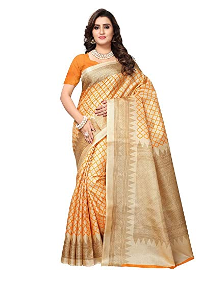 7ee3936c81 Alekip Fashion Casual and Party Wear Beige, Orange Color Bhagalpuri Silk  (Art Silk) Saree and Blouse For Women and Girl: Amazon.in: Clothing &  Accessories