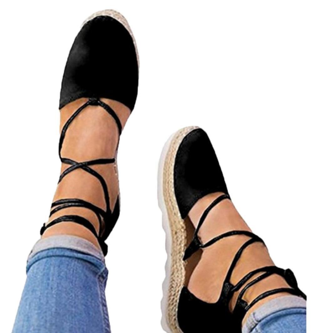 Womens Strap Sandals Flat,Vanvler Ladies Lace Up Espadrilles Chunky Cloth Shoes (US 8.5, Black)