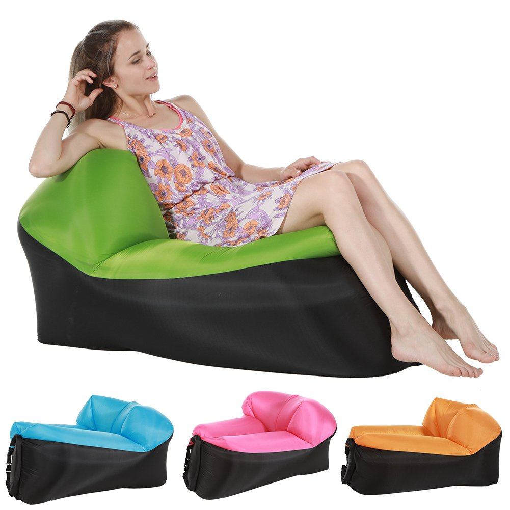 Inflatable Lounger Chair – インフレータブルAir Lounger屋内または屋外の使用 – Perfect Air Chair forキャンプピクニック& Festival グリーン B0798LCB4G グリーン グリーン