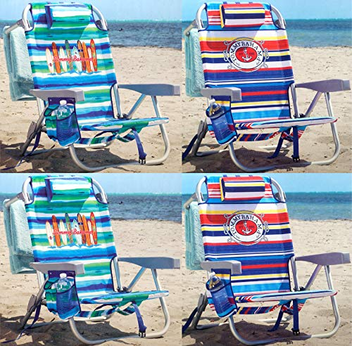 Tommy Bahama Backpack Chair - Insulated Cooler Pouch - 5 Positions (2 Ocean Stripes + 2 Tropical Stripes)