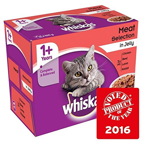 Whiskas 1+ Cat Pouches Meat in Jelly 12 x 100g (Pack of 6) by Whiskas