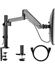 【Gas Spring】HUANUO Monitor Stand 360° Rotatable, Height Adjustable Monitor Arm for 17-32 inch LCD LED Screens, 2 Mounting Options, with HDMI Cable