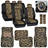 zebra stripe seat covers - Two Tone Beige Tan Zebra Seat Covers Floor Mats for Car Truck SUV Auto Accessories