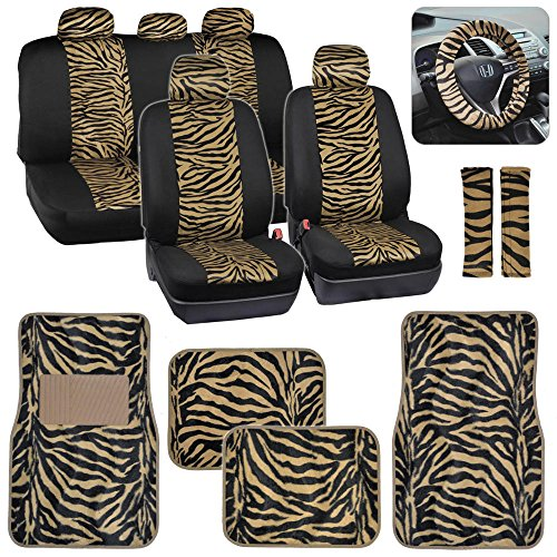 Two Tone Beige Tan Zebra Seat Covers Floor Mats for Car Truck SUV Auto ()