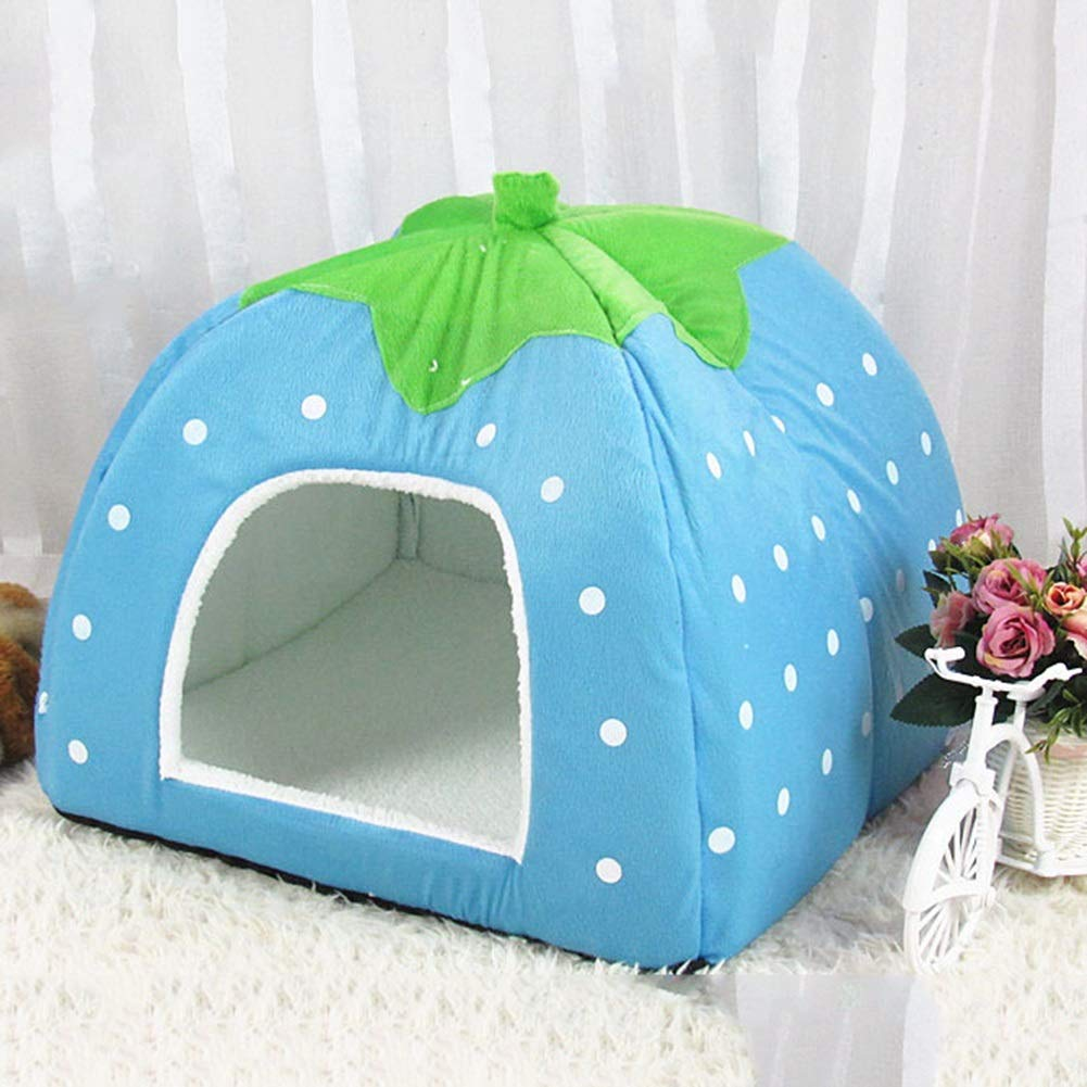 bluee L bluee L Kennel pet Dog House cat Litter Strawberry nest pet Supplies Dog cage (color   bluee, Size   L)