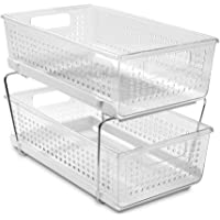 madesmart 29091 Large 2-Tier Organizer Without Dividers- Clear | Bath Collection | Slide-Out Baskets with Handles…