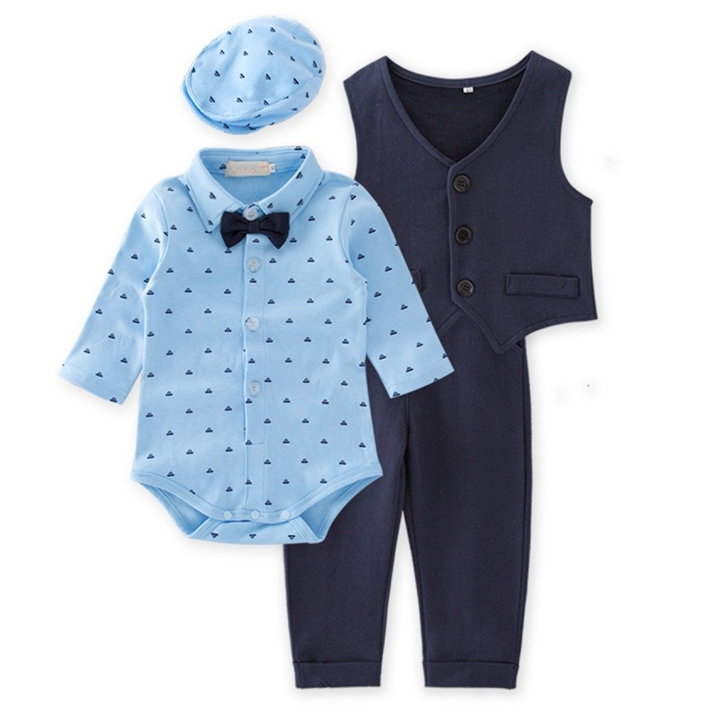 Anik Sunny Baby Boys Pattern Printing Jacquard Pants Costume Clothes Jumpsuit 4Pcs Outfit Set+Hat