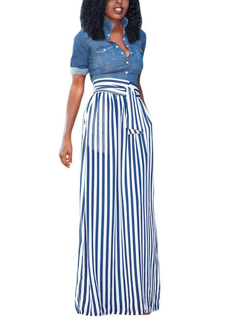 HOTAPEI Summer High Waisted Striped Maxi Skirts Women Light Blue Medium
