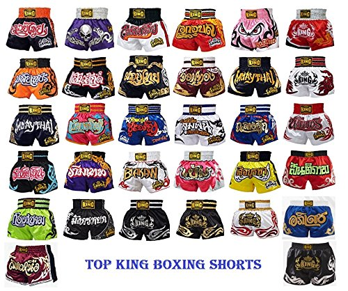 Top King Muay Thai Shorts Color: Black Red Blue Green Yellow White Silver Gold Pink Size S M L XL Retro and Normal Style Satin Boxing Shorts for Kick Boxing MMA K1